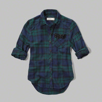plaid sequin-pocket shirt