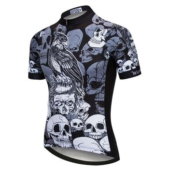 Men's Skull Cycling Jersey Quick-Dry Bicycle Clothing Cycle Wear Shirt