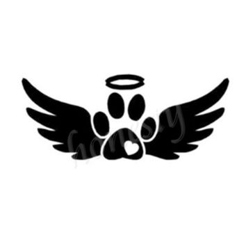 Angel Wings Animal Paw Print Wall Home Glass Window Door Car Sticker Laptop Auto Truck Black Vinyl Decal Sticker Decor Gift