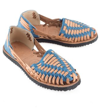 Women's Denim Woven Leather Huarache Sandal