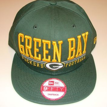New Era Hat Cap NFL Football Green Bay Packers Lateral Snapback Hat Adjustable
