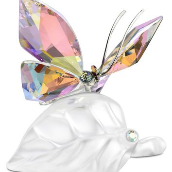 Swarovski Crystal Figurine SPARKLING BUTTERFLY Butterfly On Leaf #1113559