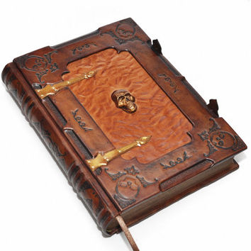 Large leather journal-The book of dead, the keeper of deep secrets