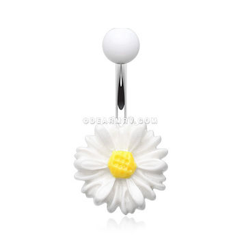 Adorable Daisy Belly Button Ring (White)
