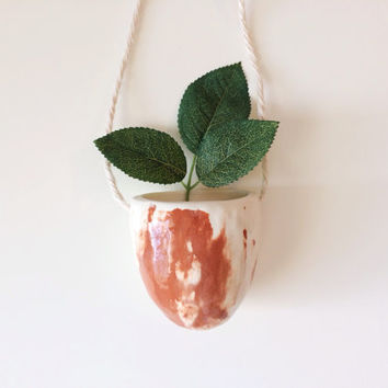 Marbled Hanging Planter - Hanging Vase - Marbled Ceramics - Succulent Planter - Ceramics and Pottery