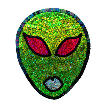 Custom Holographic Green 90s Cyber Alien Sequin Patch