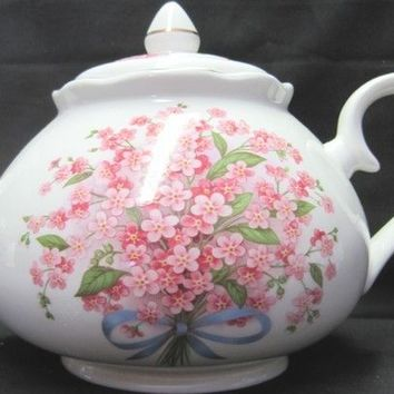 6C Pink Forget Me Nots English Bone China Teapot