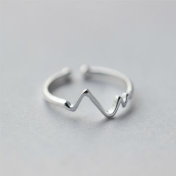 Heartbeat Lifeline Pulse Ring   - 925 Sterling Silver