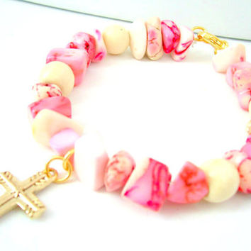 PINK HOWLITE BRACELET / Gold Cross Bracelet / Christian Jewelry With Gold Cross Charm, Howlite Jewelry, Religious Bracelet