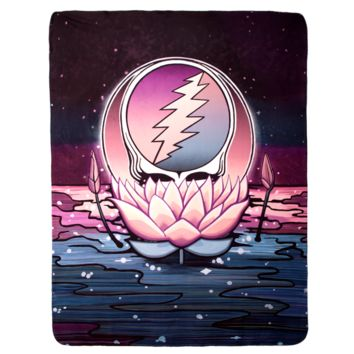 Grateful Dead Lotus Stealie Sherpa Fleece Blanket