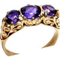 Triple Amethyst Ring in Ornate 9ct. Gold Mount - British Hallmarks 1976- FREE SHIPPING Canada & USA