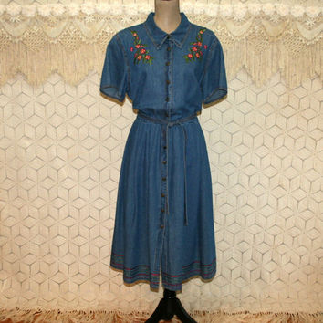 Embroidered Denim Dress XL 2X Button Up Midi Short Sleeve Casual Day Dress Size 18 Dress Plus Size Clothing Vintage Clothing Womens Clothing