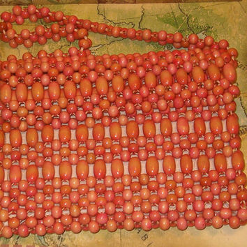 "Vintage Wooden Bead Woven Purse w Flap and Shoulder Strap, 8.25""W x 6.5""H, 1960's or Earlier"