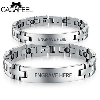 GAGAFEE EngravingMagnetic Bracelet Bangle Men Women Titanium Steel Health Wristband Link Chain Luxury Jewelry Lovers Gift B8403