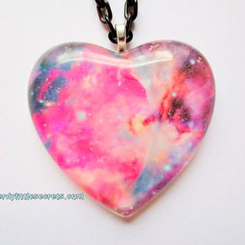 Nebula Galaxy Stars Heart Necklace Pink by NerdyLittleSecrets