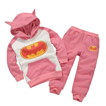 New Fashion Baby Kids Boys Girls 3D Batman Top Hoodie Sweatshirt Suit Outfits Set = 1928013892
