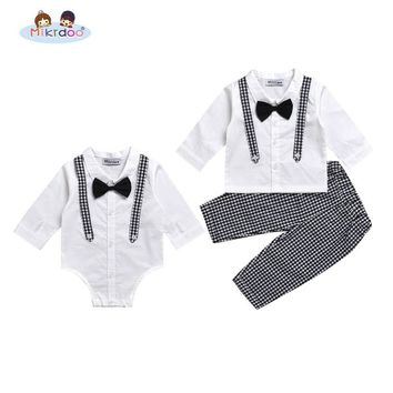 Mikrdoo Baby boy casual suit bow shirt rompers fake plaid suspender pants turn down collar black white clothes set Age 0-2 Years