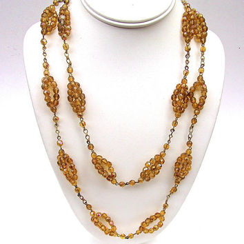 Art Deco Yellow Czech Necklace, Amber Glass Beads, Double Strand, AB Coated, Vintage