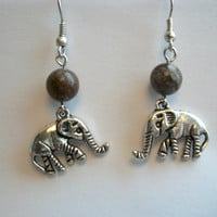 Tibetan Silver Elephant Earrings with Brown Jasper Stone