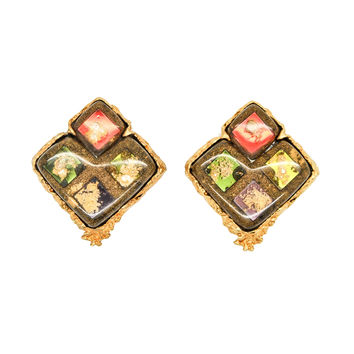 Christian Lacroix Vintage Colorful Glass Tile Earrings
