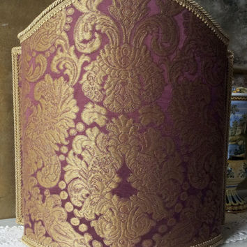 Venetian Lamp Shade Rubelli Tebaldo Amethyst Silk Brocatelle Fabric Half Lampshade - Handmade in Italy