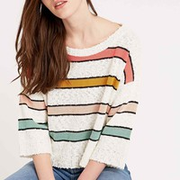 Cooperative by Urban Outfitters Popcorn Stripe Cropped Jumper in Ivory - Urban Outfitters