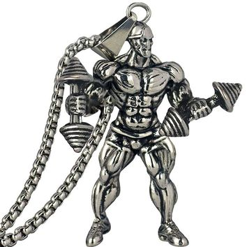 Strong Man Dumbbell Fitness Pendant Necklace Men Jewelry Between Best Friend Fashion Necklace Men Gift Hip Hop Jewelry Gym Gifts