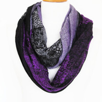 Multicolor Cotton Long Scarf, Purple / Lilac / Gray / Black, Gift, Infinity Scarf, Winter Trend, Unisex Scarf