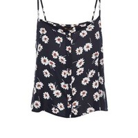 Blue Daisy Print Button Front Cami