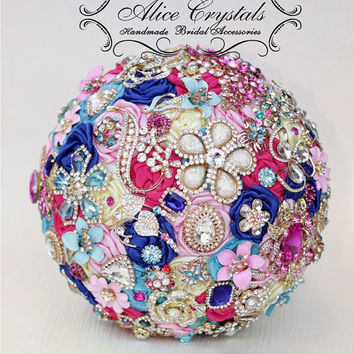 Brooch Bouquet. Bouquet Fuchsia, Royal Blue, baby blue, Light pink