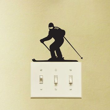 Ski Light Switch Fabric Wall Decal - Skier Vinyl Wall Sticker - Skiing Wall Art - Ski Laptop Sticker - Gift For skiers - Boy Laptop Decal