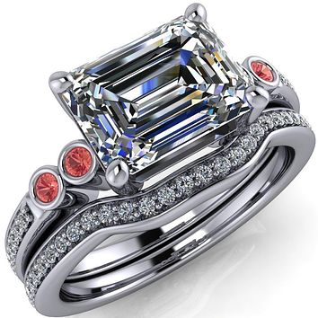 Philippa Emerald Moissanite 4 Padparadscha Sapphire Sides 4 Prong Under Bezel Multi Stone Engagement Ring