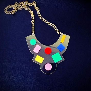 80's Retro Bib Necklace in Colorful Geo