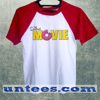 The Simpsons Movie Logo Basic Baseball Tee Red Short Sleeve Cotton Raglan T-shirt