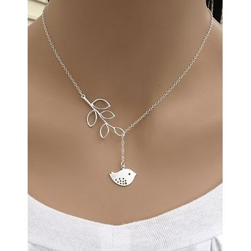 White Dove with Olive Branch Silver Tone Lariat Necklace
