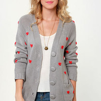 Heart-ist Statement Grey Cardigan Sweater