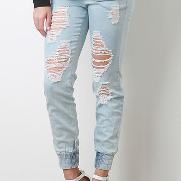 Distress Denim Joggers