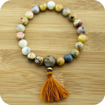 Crazy Lace Agate Mala Bracelet with Antique Glass