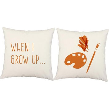 Set of 2 When I Grow Up Pillows - Artist Print Pillow Covers and or Cushion Inserts - Playroom Pillows, Kids Pillows, Children's Art Print
