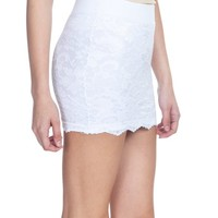 Emma's Mode Junior Floral Lace Overlay Scalloped Hem Mini Skirt SG-D25-White