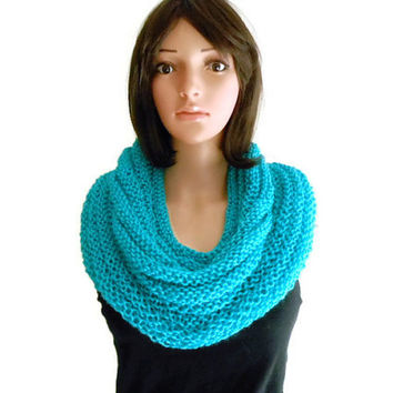 Hand Knit Blue Mint Infinity Scarf or Hooded Cowl