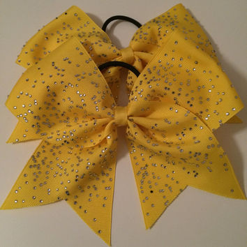 Yellow rhinestone cheer bow