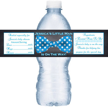 Blue Polka Dot Bow Tie Baby Shower Personalized Water Bottle Labels