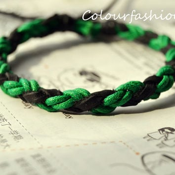 Christmas Gift, Winter Popular trend Tiny Style Green Cotton Cord Nature Leather Braid Woven Together Stylish Adjustable Wrap Bracelet  S-40