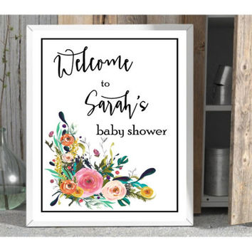 custom baby shower signage baby shower printable personalized shower print diy shower table decor baby party sign add a name shower print