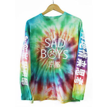 Sad Boys Tie Dye Long Sleeve T Shirt Tee Top Yung Lean vaporwave flatbush NEW