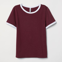 Short T-shirt - Burgundy - Ladies | H&M US