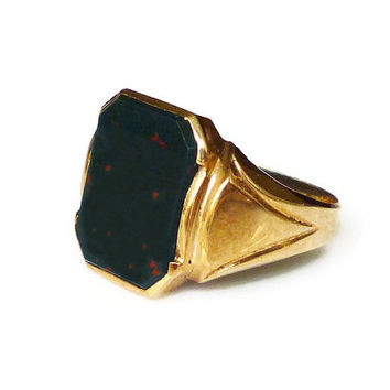 10K Gold Bloodstone Ring, Mens Ring, Signet Style, Jewelry for Men, Vintage Ring, March Birthday, Size 10