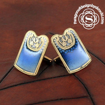 Scar Burial Plaque Viking Cufflinks with Sapphire Blue Inlay