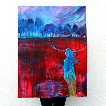 "Abstract Painting Figure on Large Canvas Modern Red ""A Walk Resolute"""